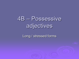 4B – Possessive adjectives