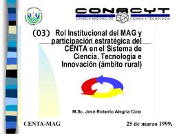 Sistema de Innovación Rural - Consejo Nacional de Ciencia y