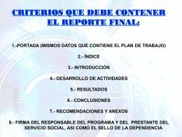 2) Criterios Reporte Final