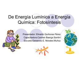 Energia Luminica a Energia Quimica