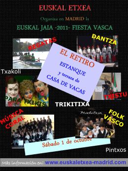 cartel anunciador - euskal etxea / hogar vasco de madrid