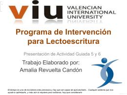 Programa de Intervención para Lectoescritura