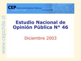 Resultados de la encuesta CEP diciembre 2003.