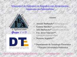 Telecontrol de Hidrantes en Regadíos con Alimentación Autonoma