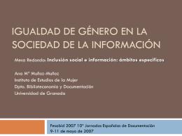 Inclusión social e información: ámbitos específicos