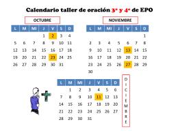 Calendario taller de oración 3º y 4º de EPO