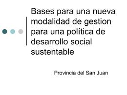 Bases para el diseño de una política social y alimentaria