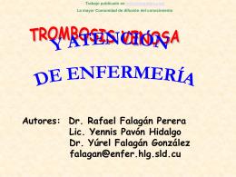 Monografias : Trombosis Venosa y atencion de enfermeria