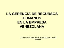 la gerencia de recursos humanos en la empresa venezolana