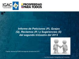 Informe de PQRD segundo trimestre de 2013