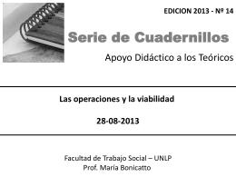 Teórico Nro. 14. Las operaciones y la viabilidad