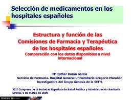 Comissió de Farmàcia: Selecció de medicaments