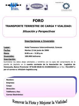 TRANSPORTE TERRESTRE DE CARGA Y VIALIDAD