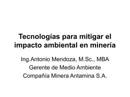 Tecnologías para mitigar el impacto ambiental en minería
