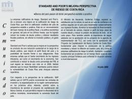 Standard and poor s mejora perspectiva de riesgo de Costa Rica