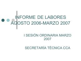 INFORME DE LABORES agosto 2006-marzo 2007
