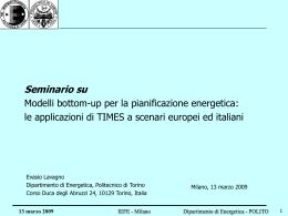 Modelli bottom-up per la pianificazione energetica