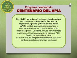 Programa celebratorio CENTENARIO DEL APIA
