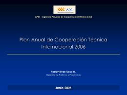 Plan Anual de Cooperación Técnica Internacional