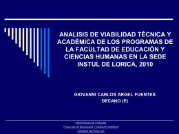 analisis de viabilidad técnica y académica de los programas de la