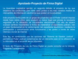 Aprobado Proyecto de Firma Digital