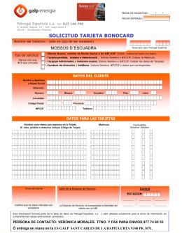 solicitud tarjeta bonocard - SAP
