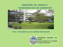 Brochur Alimentos Enero 2012 - Universidad Nacional del Callao.
