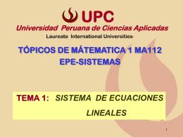 Sistema de ecuaciones lineales - Universidad Peruana de Ciencias