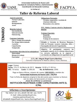 Taller de Reforma Laboral - Universidad Autónoma de Nuevo León