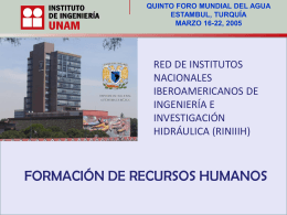 formación de recursos humanos - 5th World Water Forum Content
