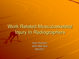 Work Related Musculoskeletal Injury In Radiographers