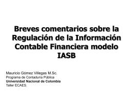 Breves comentarios sobre la Regulación de la Información Contable