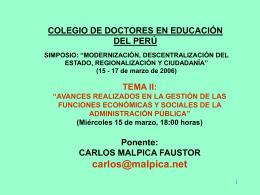Avances realizados en la Gestión de las Funciones Carlos Malpica