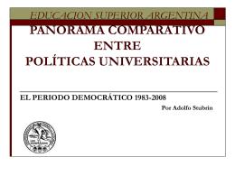 PANORAMA COMPARATIVO POLITICAS UNIVERSITARIAS 83