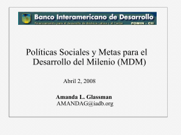 Políticas Sociales y Metas para el Desarrollo del Milenio (MDM)