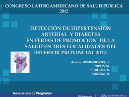 Detección de hipertensión arterial y diabetes en ferias de promoción