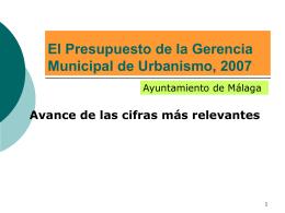 El Presupuesto de la Gerencia Municipal de Urbanismo