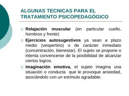 ALGUNAS TECNICAS PARA EL TRATAMIENTO