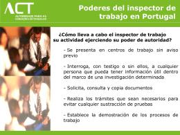 Poderes del inspector de trabajo en Portugal 05/12/2011 SP |