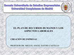 El plan de recursos humanos y los aspectos laborales