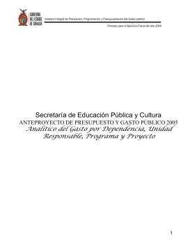 Programa Operativo Anual 2005 SEPDES Y SEPyC