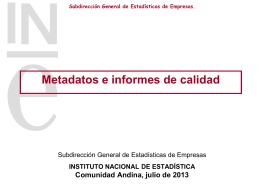 Metadatos e informes de calidad - Estadísticas