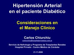 Hipertensión Arterial en el paciente Diabético