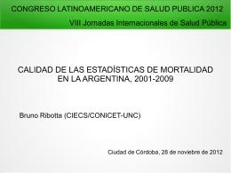 Calidad de las estadísticas de mortalidad en Argentina - 2001-2009