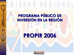 PROPIR 2006 Region de Tarapaca