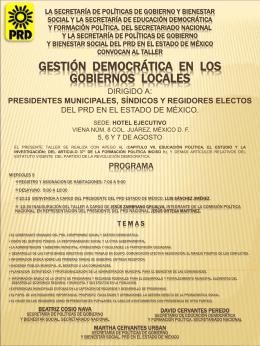Curso Gestión democrática en los gobiernos locales dirigido a