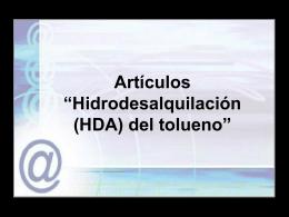 """Artículos """"Hidrodesalquilación (HDA) del tolueno"""""""
