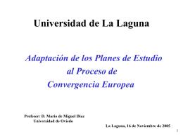 Universidad de La Laguna Adaptación de los Planes de Estudio al