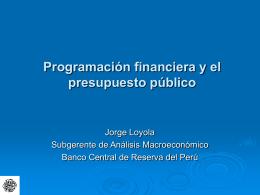 Programación financiera y el presupuesto público
