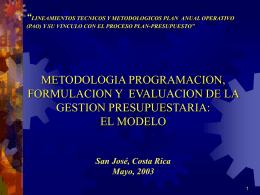 Metodología Programación, Formulación y Evaluación de la Gestión